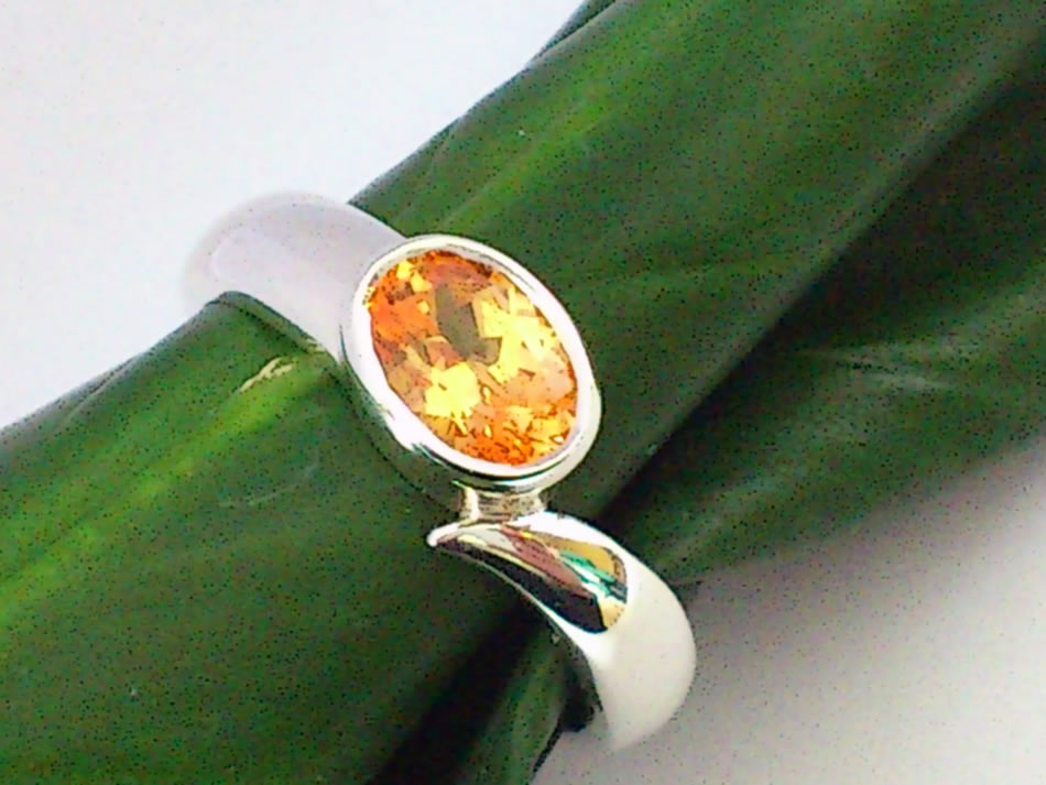 Silver Spessarite garnet ring