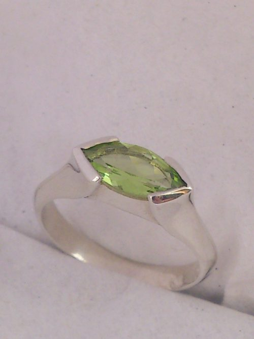 Silver marquise peridot ring
